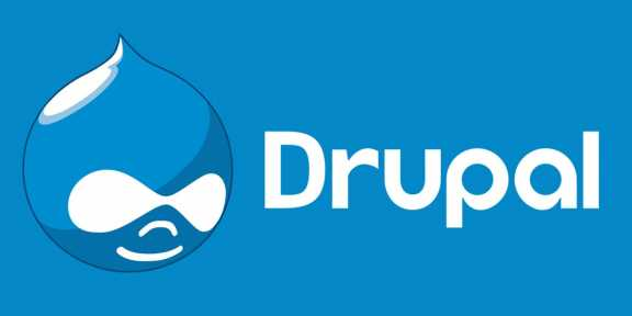 Drupal logo and name on a blue background.