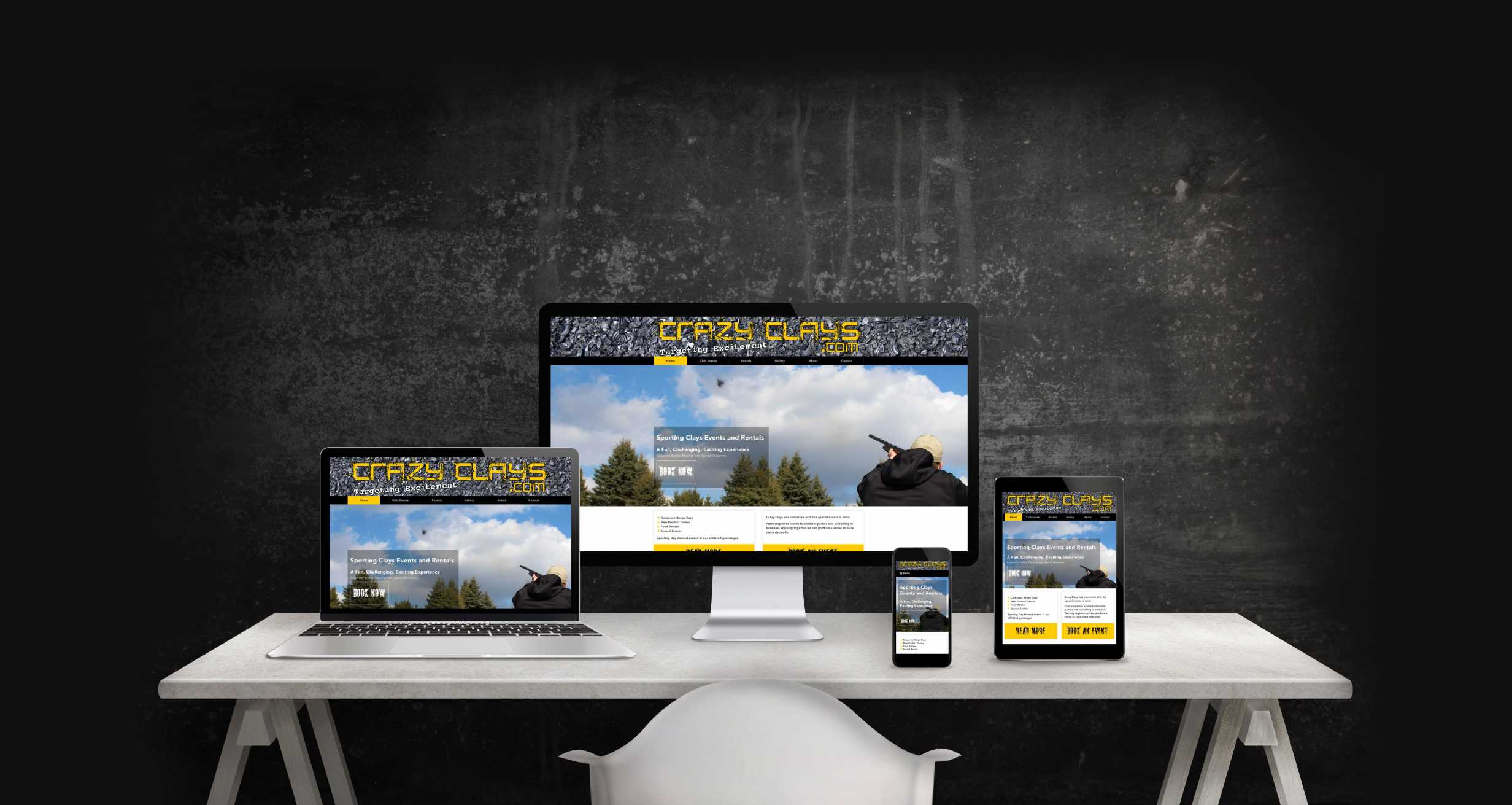 Mock-up of Crazy Clays website showing desktop, laptop, tablet, and mobile home page layout.