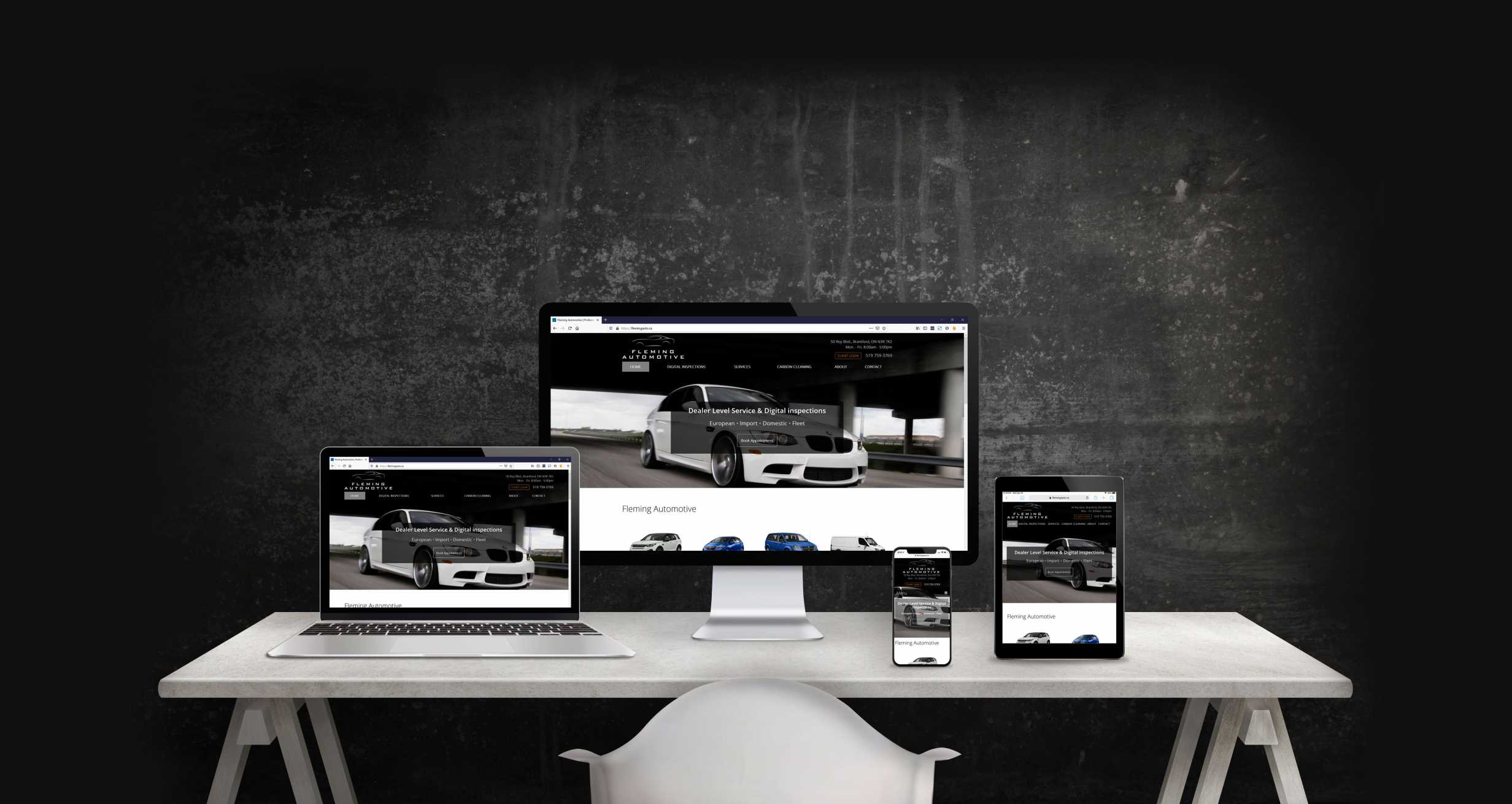 Mockup of the Fleming Automotive website showing desktop, laptop, iPad, and iPhone web layout.
